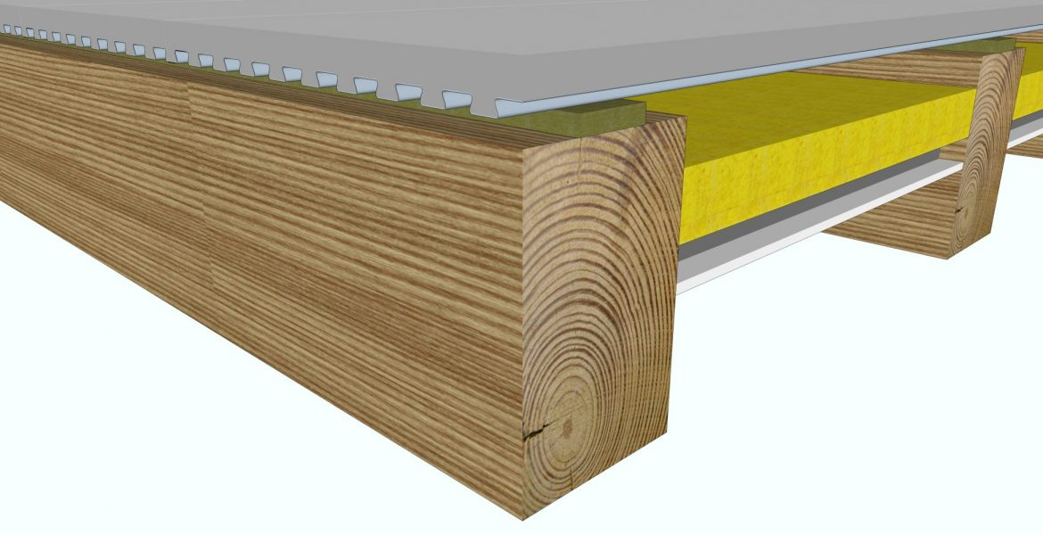 Exposed timber joist ceiling that achieves both an acoustic separation rating and a fire rating