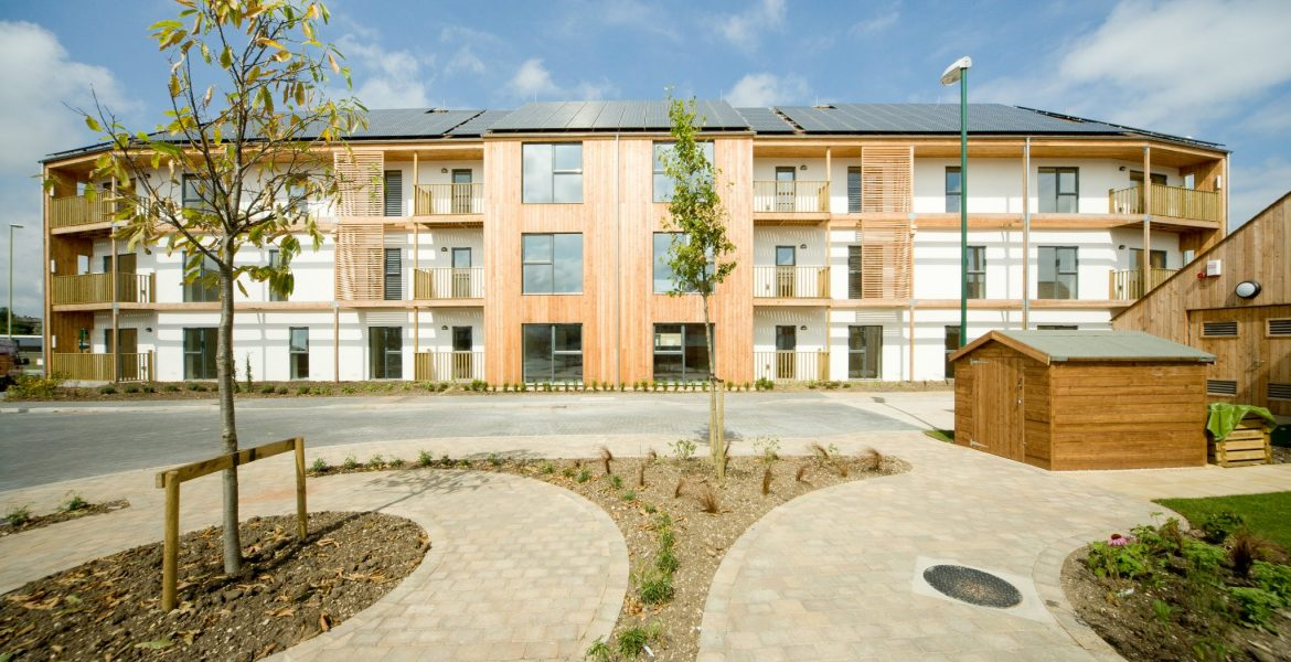 Social Housing Timber Frame Apartments reaching Code Level 6, Zero Carbon. Very high acoustic rating