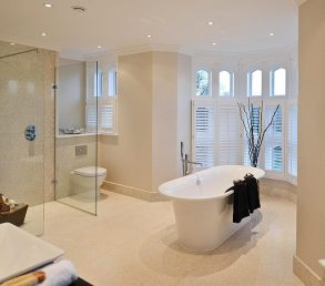 Octagon Homes Kingswood mansion house conversion wet room, bathroom large format marble tiles underfloor heating