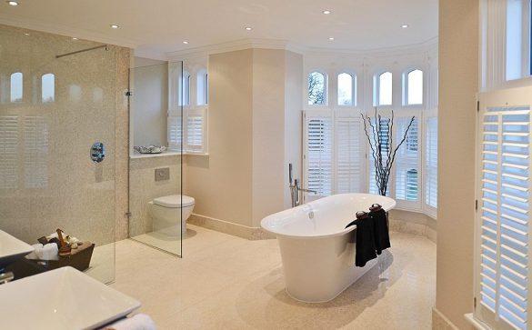 Octagon Homes Kingswood mansion house conversion wet room, bathroom large format marble tiles underfloor heating