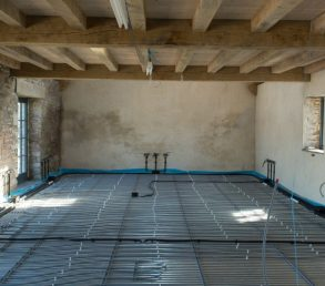 Underfloor heating into a mill conversion in Cornwall. Concrete acoustic floors