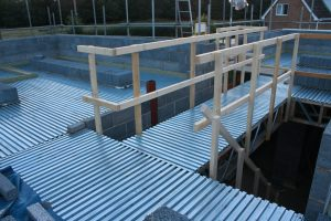 Lewis Deck being used as the safe working deck during the build process